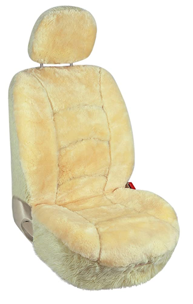 1. Leader Accessories Sheepskin Car Seat Covers 1pcs Low Back Front Seat Cover Fit for Car,Truck,SUV Champagne