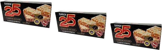 Turron25 -Pack de 3 Turron de Alicante - turron duro de almendra Calidad superior 200gr - sin gluten - producto Español: Amazon.es: Alimentación y bebidas
