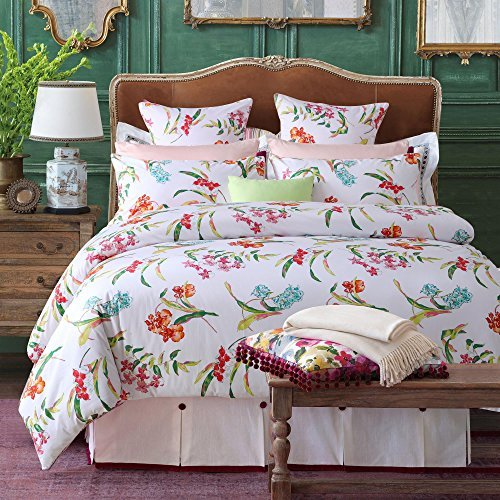 Brandream 100% Egyptian Cotton 3-Piece White Duvet Cover Set with Delicate Floral Pattern Pastoral,King Size Bedding Sets Bedding Collections for Home Decor