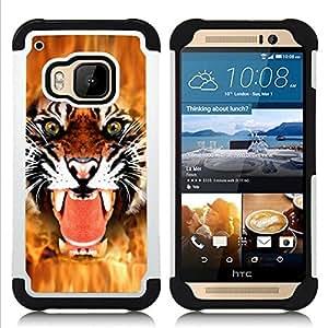 For HTC ONE M9 - Tiger Angry Face Big Cat Teeth Green Eyes /[Hybrid 3 en 1 Impacto resistente a prueba de golpes de protecci????n] de silicona y pl????stico Def/ - Super Marley Shop -