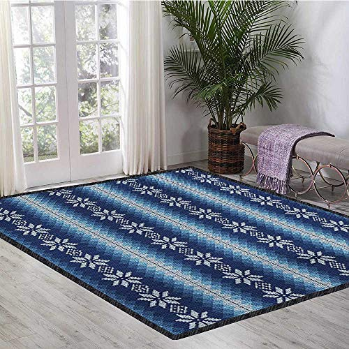 Winter, Area Rug Boys Room, Traditional Scandinavian Needlework Inspired Pattern Jacquard Flakes Knitting Theme, Door Mats for Inside Non Slip Backing 5x8 Ft Blue White by lacencn (Image #1)