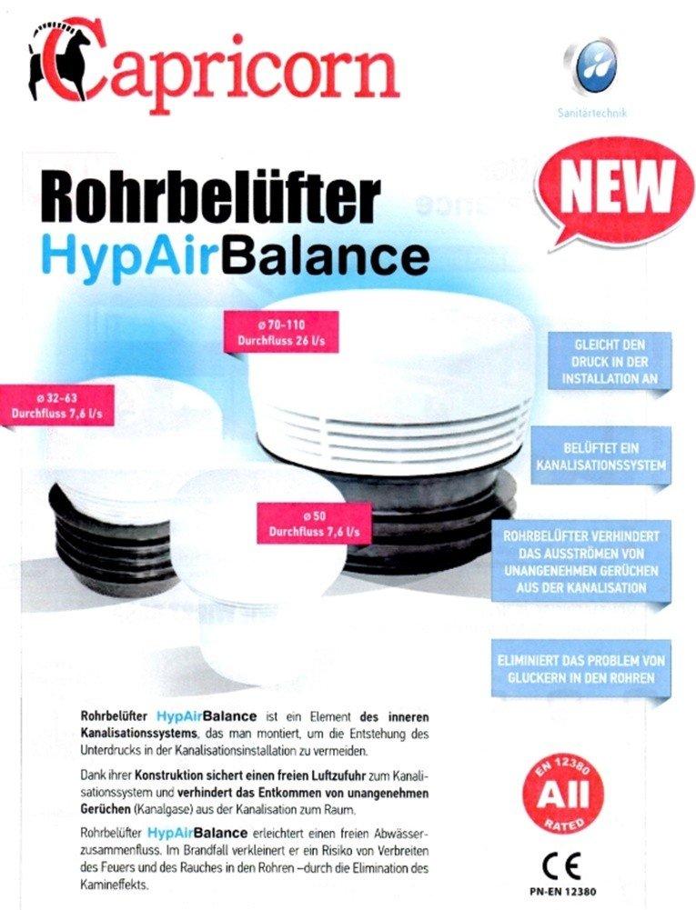 /Équilibre HYP Air Tube A/érateur Valve da/ération Diam/ètre 110/mm pour installations sanitaire//canalisations
