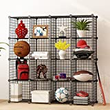 KOUSI Storage Cubes Wire Grid Modular Metal Cubbies Organizer Bookcases and Book Shelves Origami MultiFuncation Shelving Unit, Capacious & Customizable, Black, 16 Cubes