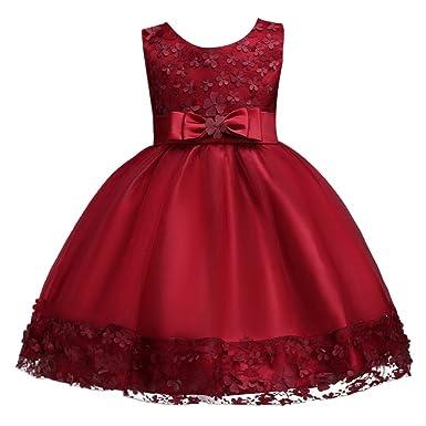 40aaf5494c FYMNSI 3D Flower Girl Dress Kids Princess Tutu Wedding Bridesmaid Dress  Little Big Girl Birthday Party Christening Formal Pageant Dresses Toddler  Baby ...