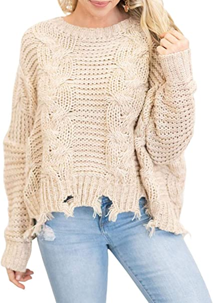 YIBOCK Women Pullover Sweaters Long Sleeve Crew Neck Knit