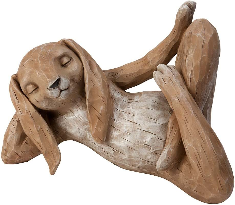 Wind Weather Relaxing Rabbit Sculpture 14.5 L x 7.25 W x 10 H