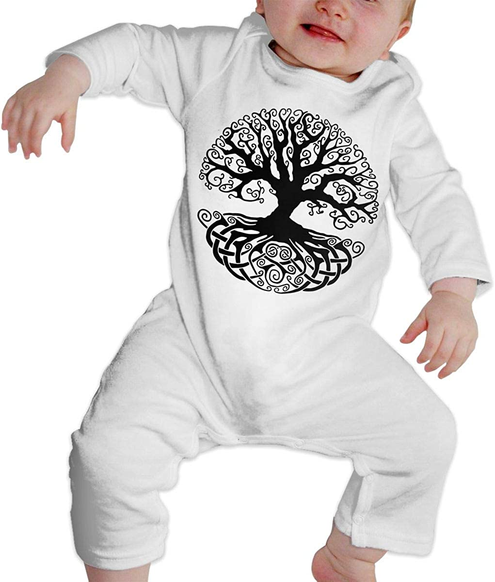 YELTY6F Celtic Tree Knots Printed Boys Girls One-Piece Suit Long Sleeve Rompers White