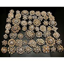 L'vow Silver/gold Color Sparking Wedding Bridal Crystal Brooch Bouquet Kit Pack of 10