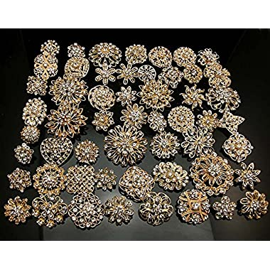 Lot 10pcs Silver/gold Color Sparking Wedding Bridal Crystal Brooch Bouquet Kit (gold)