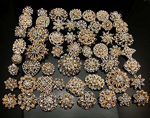Crystal Bouquet Jewelry - L'vow Silver/gold Color Sparking Wedding Bridal Crystal Brooch Bouquet Kit Pack of 10 (gold)