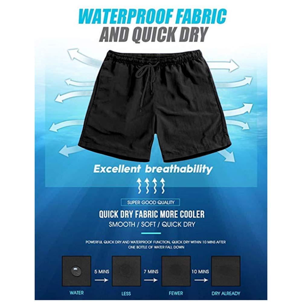 Mens Shorts Trunk Summer Pockets Volcanic Eruption Cartoon Swim Beach Athletic Quick Dry Beachwear Boardshort