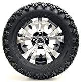 Golf Cart 12'' ''Vampire'' Machined and Black Wheel and 23 x 10.5-12 Golf Cart (6-PLY) ''X-Trail'' All Terrain Tire Combo- -+ GTW Quality Lift Kit Option ((Electric) EZGO RXV, Lift Kit)