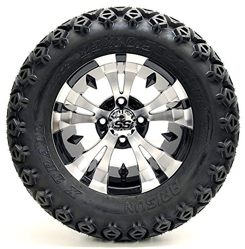 Golf Cart 12'' ''Vampire'' Machined and Black Wheel and 23 x 10.5-12 Golf Cart (6-PLY) ''X-Trail'' All Terrain Tire Combo- -+ GTW Quality Lift Kit Option ((Electric) EZGO RXV, Lift Kit) by Golf Cart King