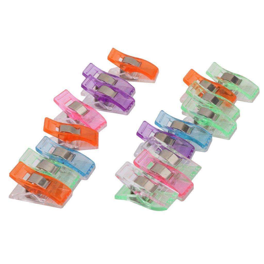 Hilai Lot d/'environ 50 pinces en plastique de couleurs assorties pour la couture le bricolage le matelassage la reliure