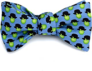 product image for Josh Bach Men's Apples Hats Art-Inspired Self Tie Silk Bow Tie Blue, Made in USA
