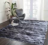 LA Rug Linens Shag Shaggy Furry Fluffy Fuzzy Soft Modern Contemporary Thick Plush Soft Pile Charcoal Grey Dark Gray Charcoal Two Tone Area Rug Carpet Bedroom Living Room 8×10 (Aroma Charcoal)
