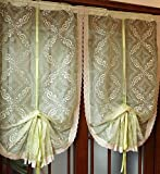Cheap FADFAY Rustic Green Embroidered Sheer Ballon Curtains Roman Crochet Lace Curtains,1 Panel