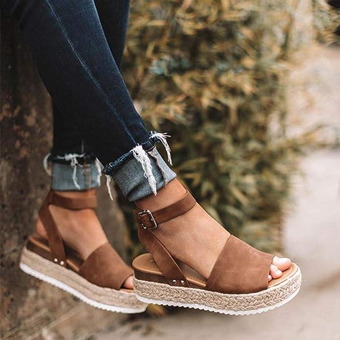 4178fa23b Amazon.com | XMWEALTHY Women's Ankle Strap Espadrilles Platform Shoes  Summer Casual Open Toe Strappy Sandals Shoes | Sandals