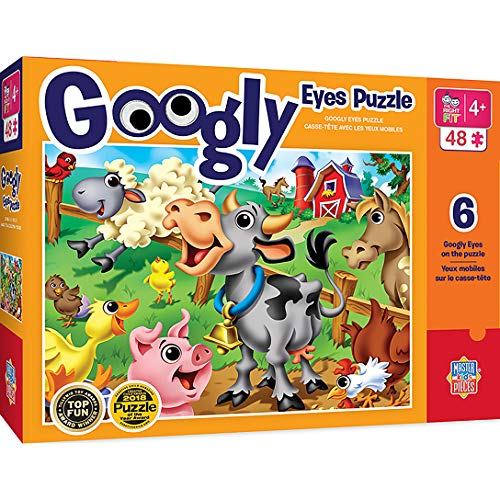 MasterPieces The Right Fit Kids Googly Eyes Jigsaw Puzzle, Farm Animals, Tillywig Top Fun Award, 48 Pieces, For Ages 4+