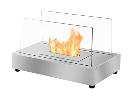 Ignis Portable Tabletop Ventless Bio Ethanol Fireplace   Tower (Stainless  Steel)