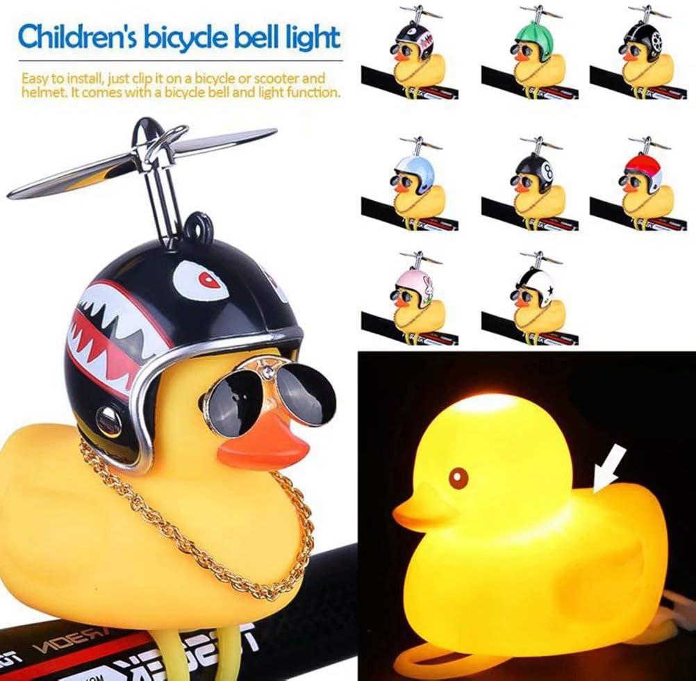 Lovely Helmet Propeller Duck Kids Bike Bicycle Handlebar Bell Light Horn Lamp Cl