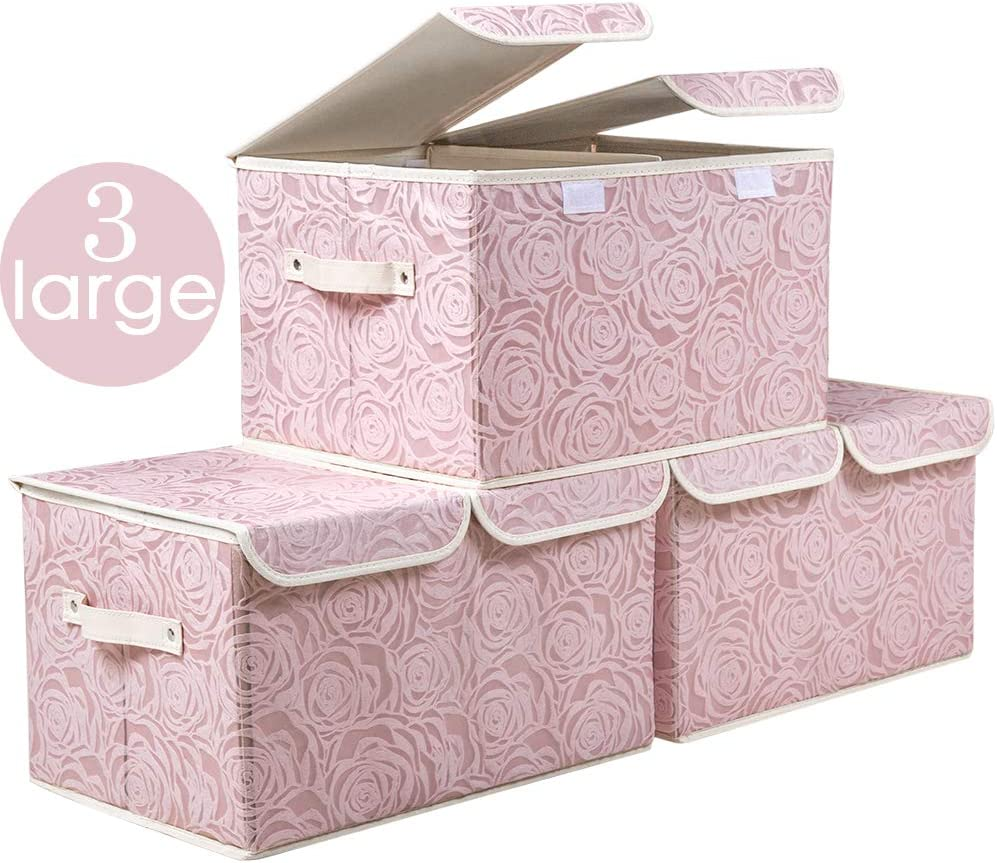 Prandom Large Stackable Storage Bins with Lids Fabric Decorative Storage Box Cubes Organizer Containers Baskets with Cover Handles Divider for Bedroom Closet Living Room 17.3x11.8x9.8 Inch 3 Pack