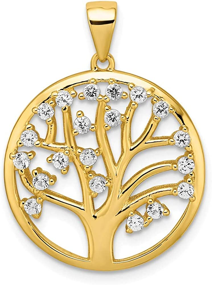 925 Sterling Silver Gold Tone Created White Sapphire Tree Of Life Pendant Charm Necklace Outdoor Nature Fine Jewelry For Women Gifts For Her