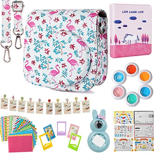Flylther Compatible Mini 8 9 Camera 8-in-1 Accessories Bundles Set for Fujifilm Instax Mini 8 9 Instant Film Camera(Case,Albums,Frames,Film Stickers,Colored Filters,Selfie Lens)- Flamingo