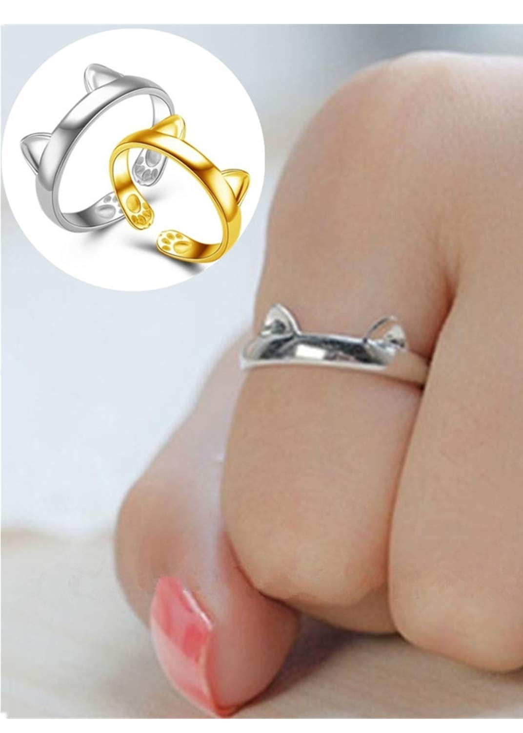HUAMING Dragon Cat Gothic Ring,Sterling Silver Rings for Women, Adjustable Rings, Wrap Around Rings,Knuckle Rings Evening Party (Silver)