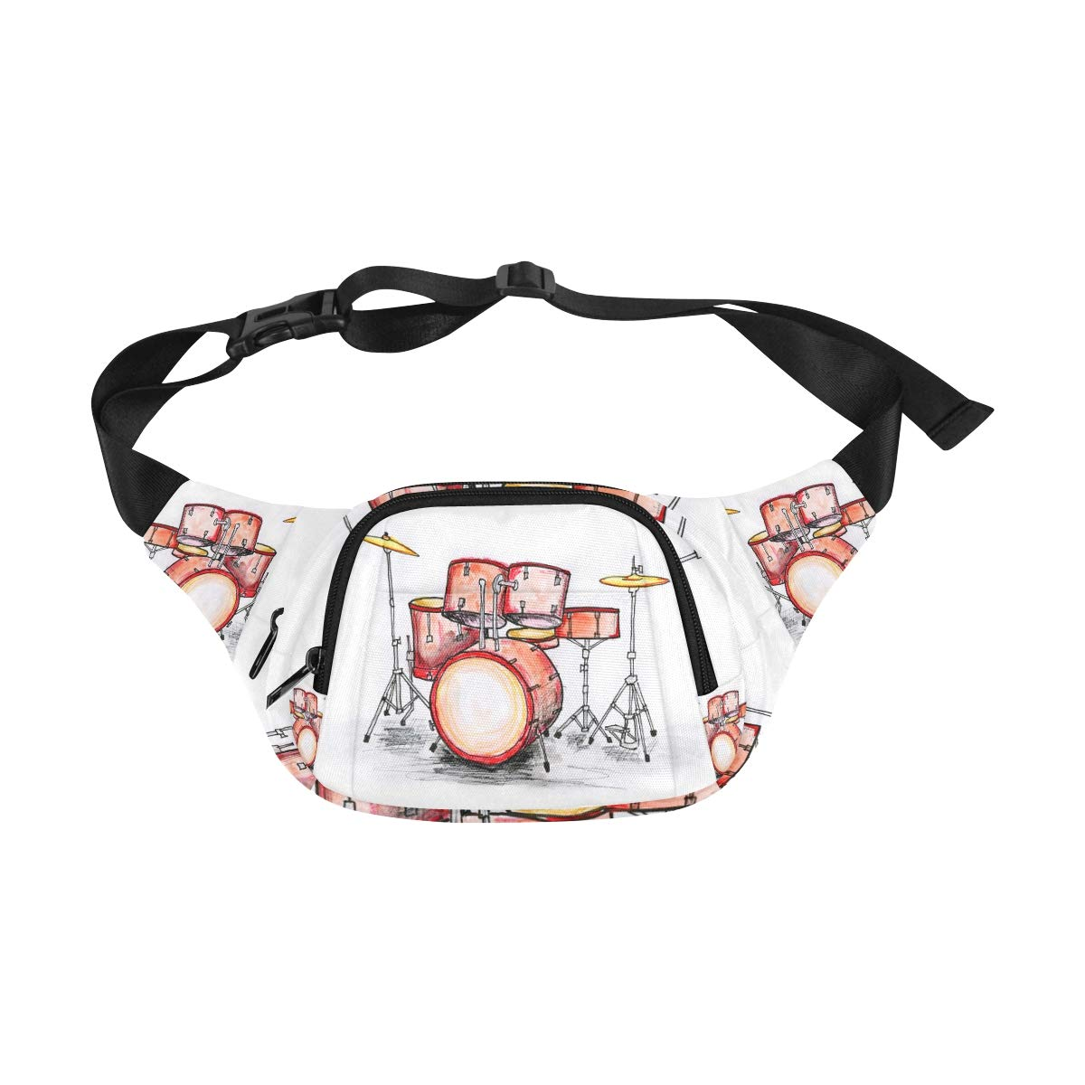 Hand Drawn Musical Drum Set Fenny Packs Waist Bags Adjustable Belt Waterproof Nylon Travel Running Sport Vacation Party For Men Women Boys Girls Kids