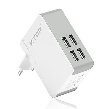 VTOP Cargador USB Multipuerto 4-Puertos - EU/UK/US Universal Cargador Móvil para iPad, iPhone, Samsung Teléfonos Inteligentes y Tabletas y Otros ...