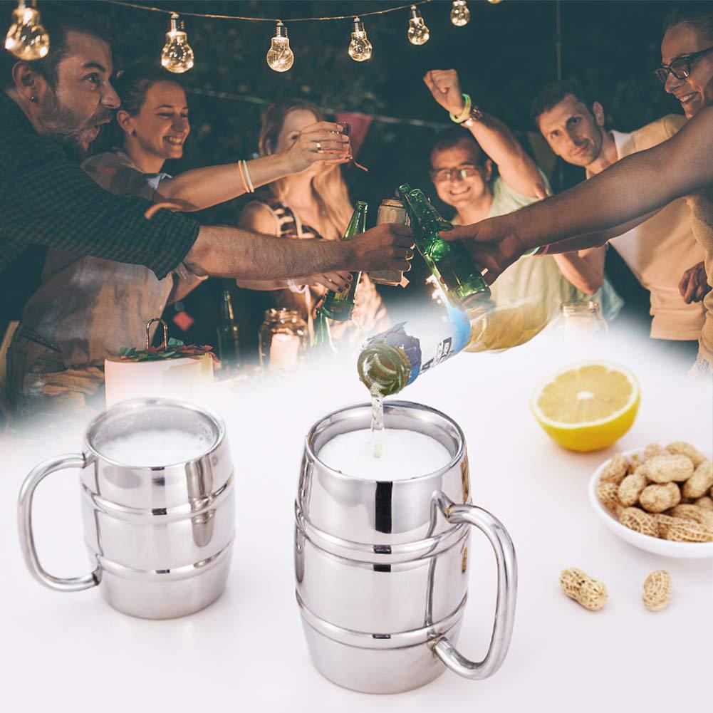 Keep Cold vino in vetro a doppio strato comodo e pratico in acciaio INOX boccale di birra per interni o viaggi campeggio caff/è t/è vetro termico isolante e al freddo 2/in 1 300 ml Come da immagine