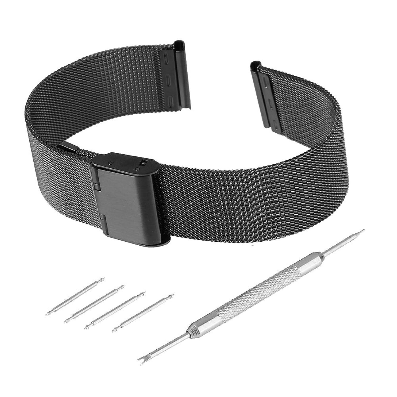bewishブラックステンレススチールメッシュ腕時計バンド交換用ストラップ調節可能フックバックル18 mm-24 mm 20mm ブラック 20mm   B078Y2JVH4
