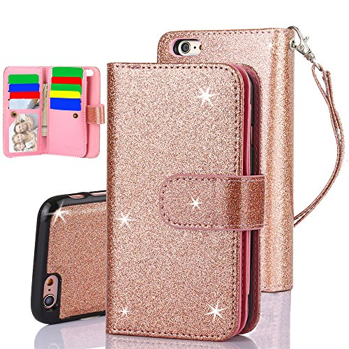 iPhone 6S Plus Case, TabPow 10 Card Slot - [ID Slot] Wallet Folio PU Leather Case Cover With Detachable Magnetic Hard Case For iPhone 6S/6 Plus (5.5 Inch) - Glitter Rose Gold