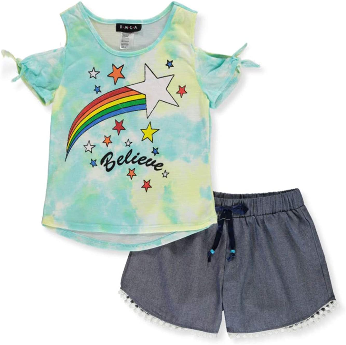 RMLA Girls Rainbow Lightning 2-Piece Leggings Set Outfit with Flip Sequin Keychain