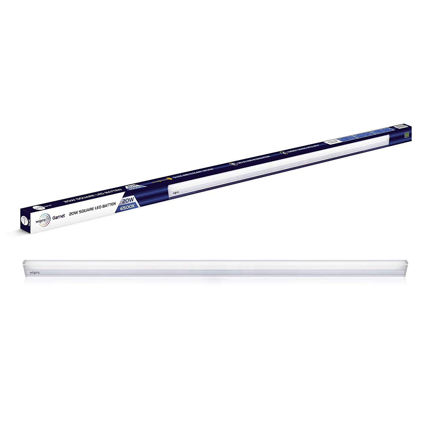 Wipro Garnet Non-Rechargeable 20-Watt LED LED Batten (White, Rectangular)