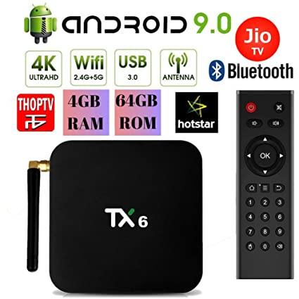 PHANTIO TX6 Android 9 0 Smart TV Box : JIO TV Hotstar DualBand WiFi  Bluetooth Quad-Core 3D 4K Ultra HD H 265 Decoding USB3 0 Airtel TV Netflix  YouTube