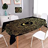 PRUNUSHOME Spillproof Fabric Tablecloth Islamic crescent moon in elegant circle ornate background Ideal for Ramadan wear-resistant, washable, anti-liquid spill/50W x 72L Inch