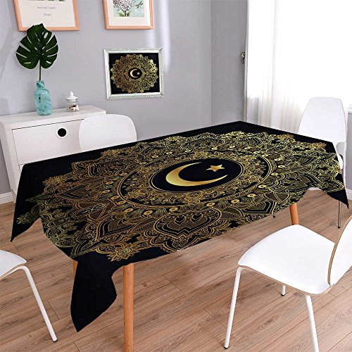 Philiphome 100% Polyester Luxury Tablecloth Islamic Crescent Moon in Elegant Circle Ornate Background Ideal for Ramadan Resistant and Waterproof Tablecloths 70''x120'' by Philiphome