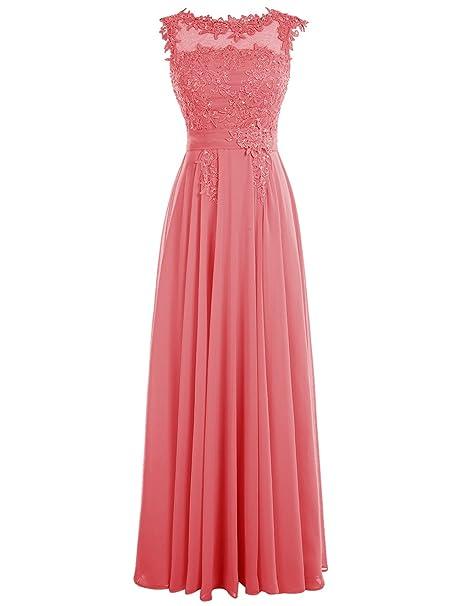 4ed662a8891b Dressystar - Vestito da donna, abito lungo da sera/cerimonia con  applicazioni, in mussola Corallo 42: Amazon.it: Abbigliamento
