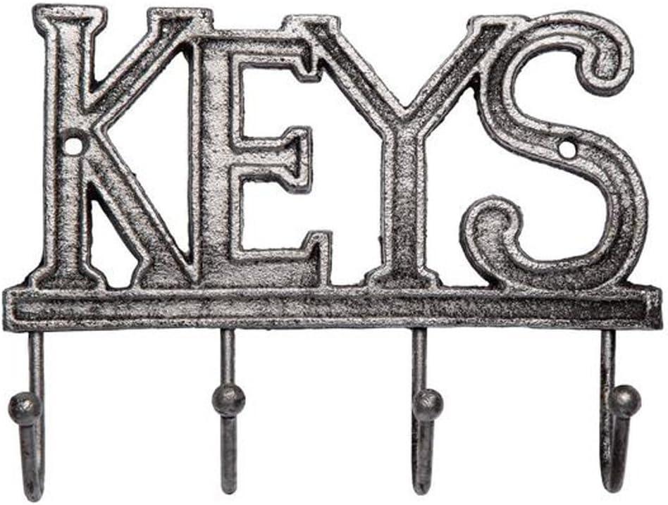 Comfify Soporte de Llave - Llaves - Gancho de Llave montado en la Pared - Gancho de Llave de Hierro Fundido Occidental rústico - Estante de Organizador de Llave Decorativo con 4 Ganchos - Negro Plata