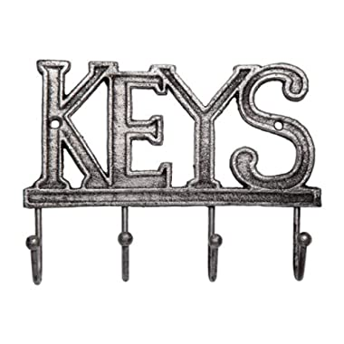 Comfify Key Holder - Keys - Wall Mounted Key Hook - Rustic Western Cast Iron Key Hanger - Decorative Key Organizer Rack with 4 Hooks - with Screws and Anchors - 6x8 inches