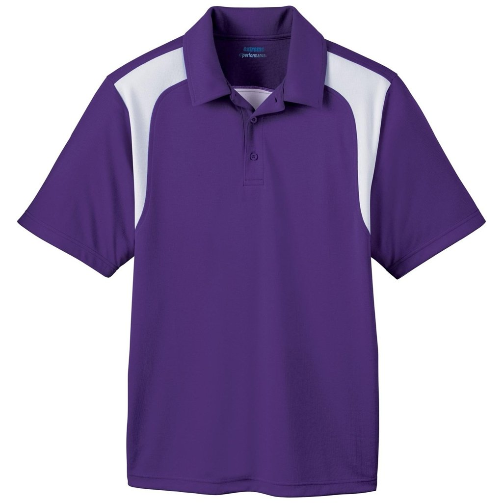 Ash City Mens E Performance Polo Shirt (Small, Campus Purple/White)
