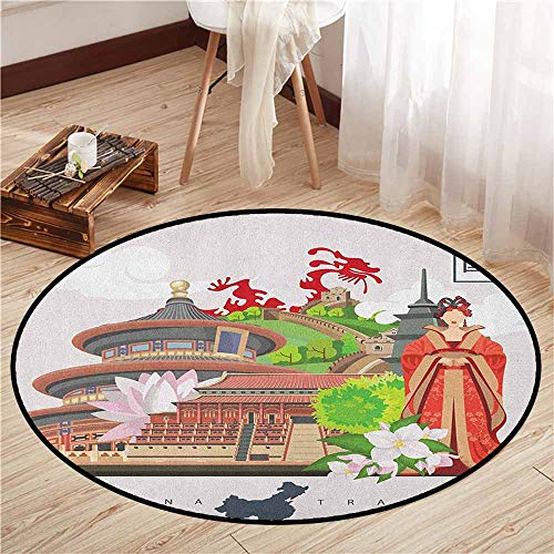 Bedroom Round Rugs,Ancient China,Vintage Style Chinese Attributes ()