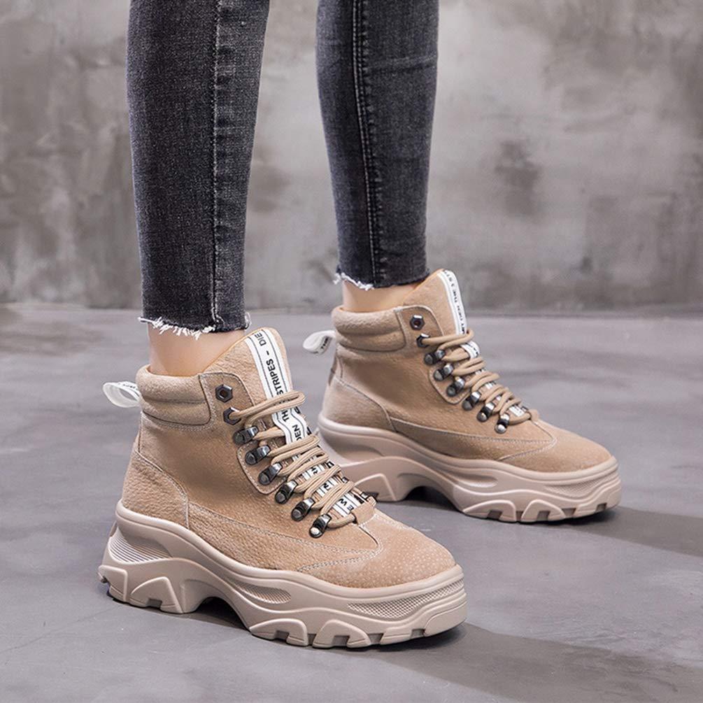 HhGold Frauen Frauen Frauen Martin Stiefel Winter plüsch warme echtes Leder plattform Schuhe Stiefeletten Frauen (Farbe   Khaki Größe   6.5=40 EU) db7bf6