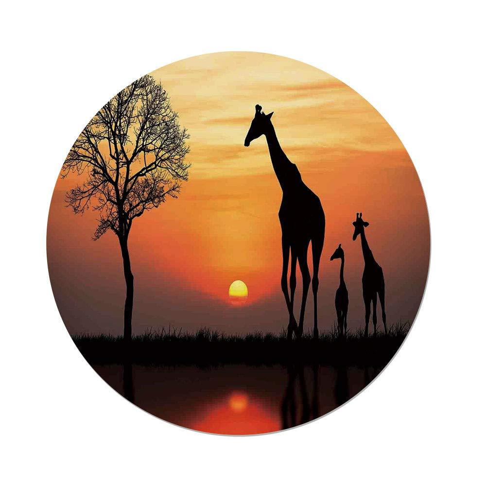 iPrint Polyester Round Tablecloth,Wildlife Decor,Giraffes on Bushes by Lake Surface Horizon in The Middle of Nowhere Image,Orange Black,Dining Room Kitchen Picnic Table Cloth Cover,for Outdoor Indoor