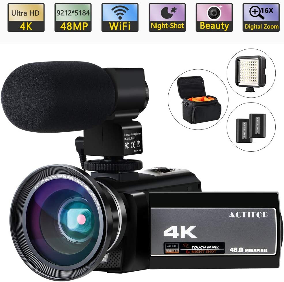 Amazon Com Video Camera 4k Camcorder Digital Actitop Fhd Wifi Vlogging Cameras Recorder With Microphone For Youtube 48mp 16x Digital Zoom 3 0 Inch Touch Screen Wide Angle Lens Night Vision Led Light