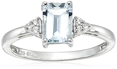 af7e9526831f8 Amazon.com: Jewelili Sterling Silver Aquamarine Emerald Cut with ...