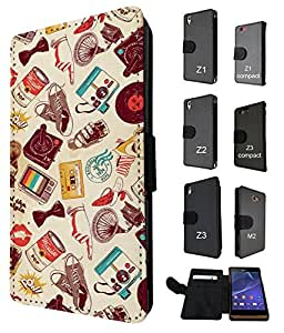 731 - Retro Stickerbomb Multi collection Design Fashion Trend Credit Card Holder Purse Wallet Book Style Tpu Leather Flip Pouch Case Sony Xperia Z3