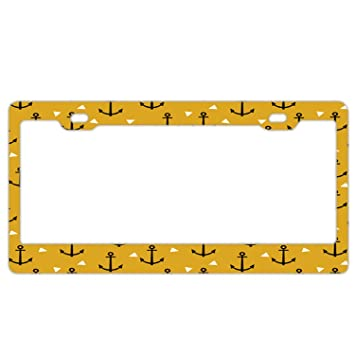 Macaroon Yellow Auto Car License Plate Frame Tag Holder 4 Hole